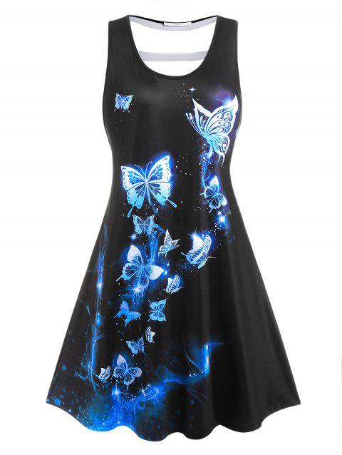 Plus Size Butterfly Print Cut Out Back Dress
