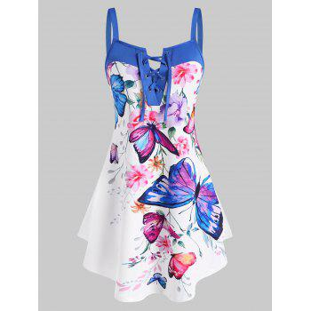 Flower Butterfly Print Lace Up Curved Hem Tank Top