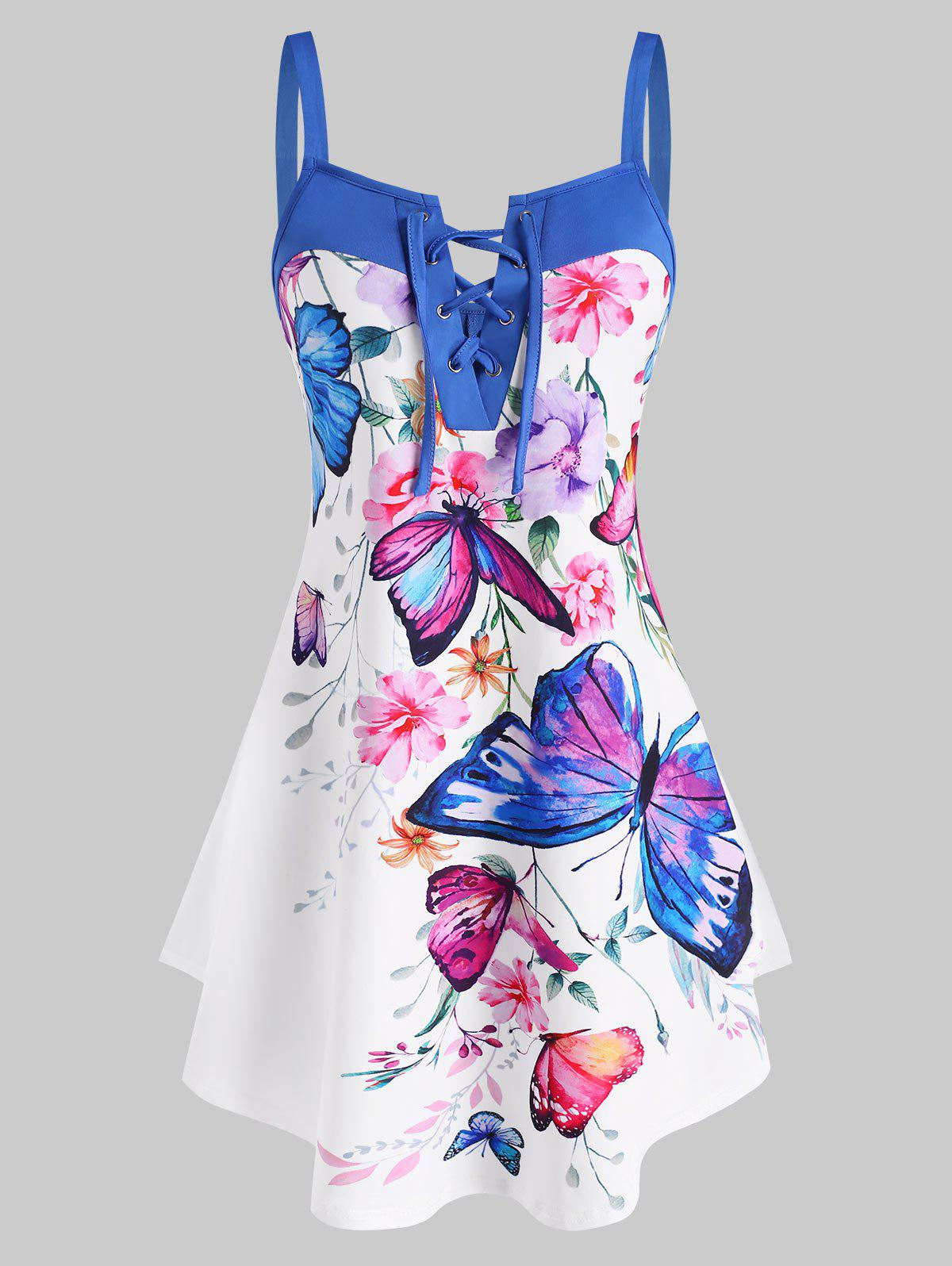 Flower Butterfly Print Lace Up Curved Hem Tank Top - multicolor XXL