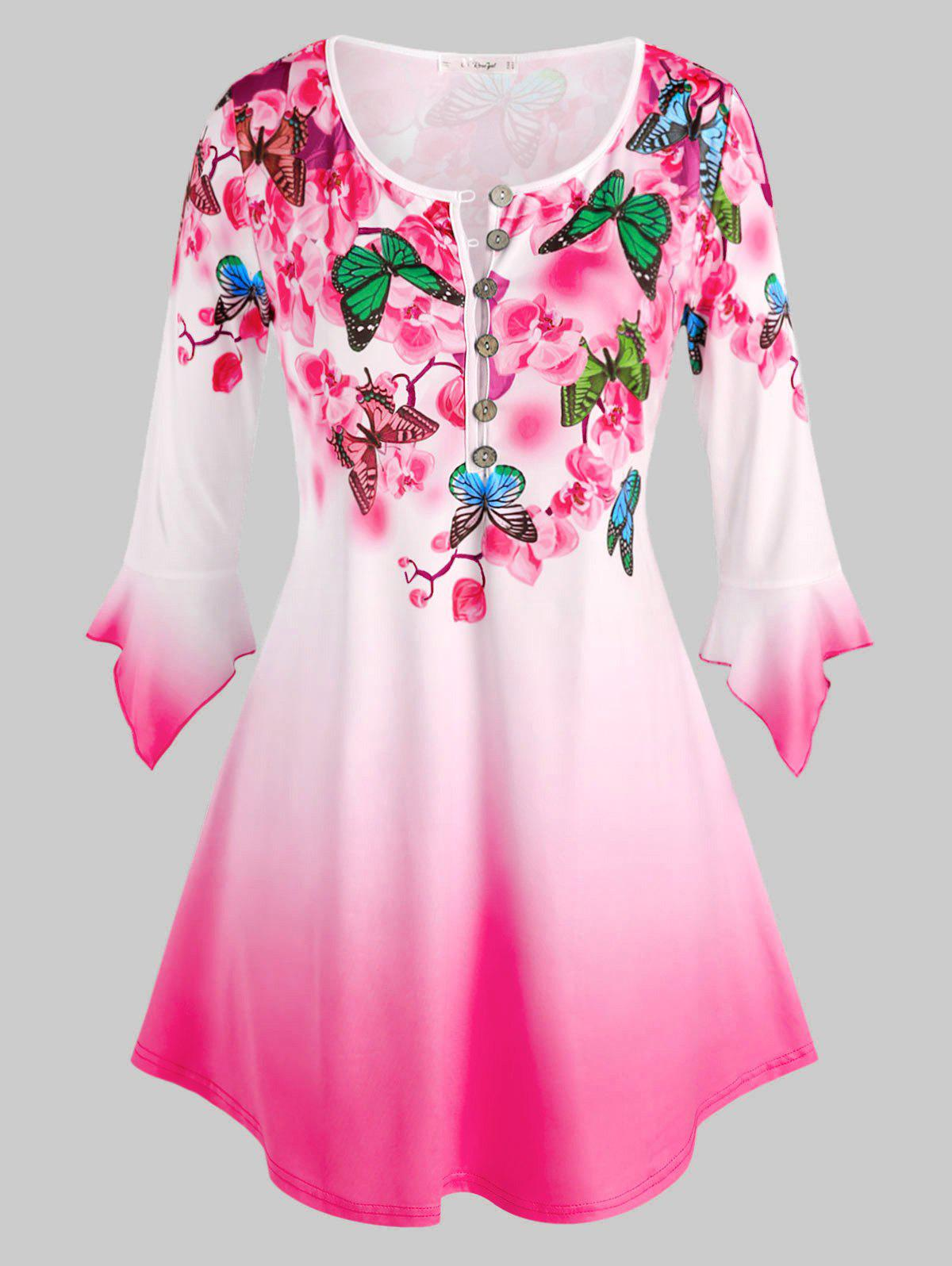 Plus Size Butterfly Floral Print Bell Sleeve Ombre Color Tee - LIGHT PINK 1X
