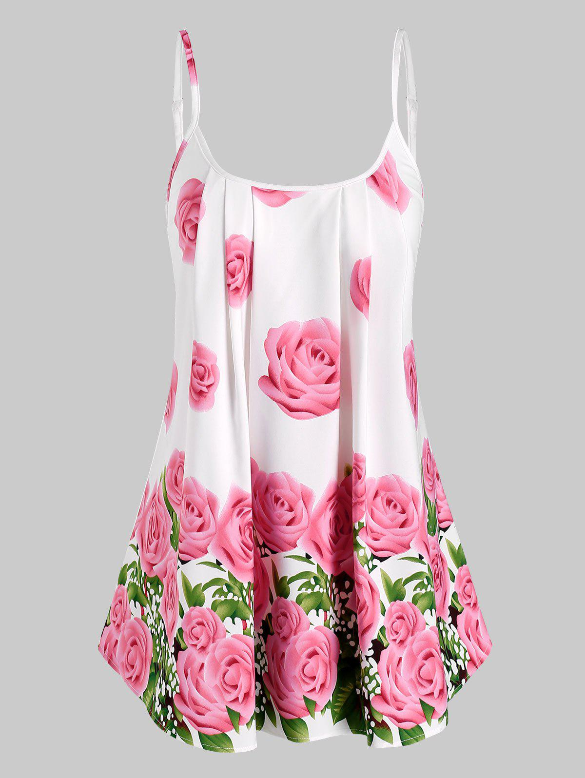 Pleated Rose Flowers Print Cami Top - LIGHT PINK M