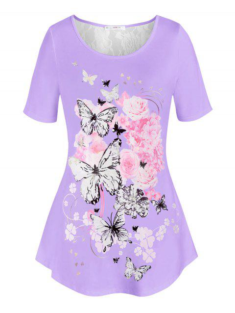 Plus Size Floral Butterfly Print T Shirt