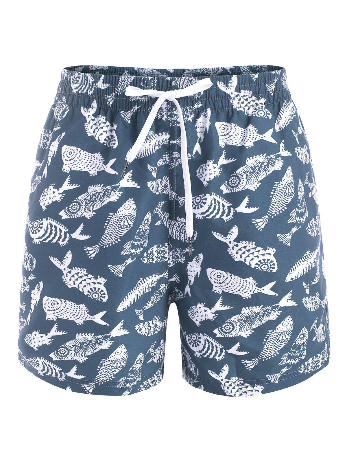 Fish Allover Print Casual Shorts - MARBLE BLUE M