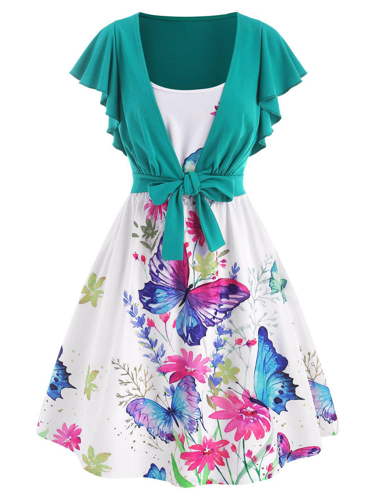 Flower Butterfly Print Cami Dress with Tie Front T Shirt - multicolor XL