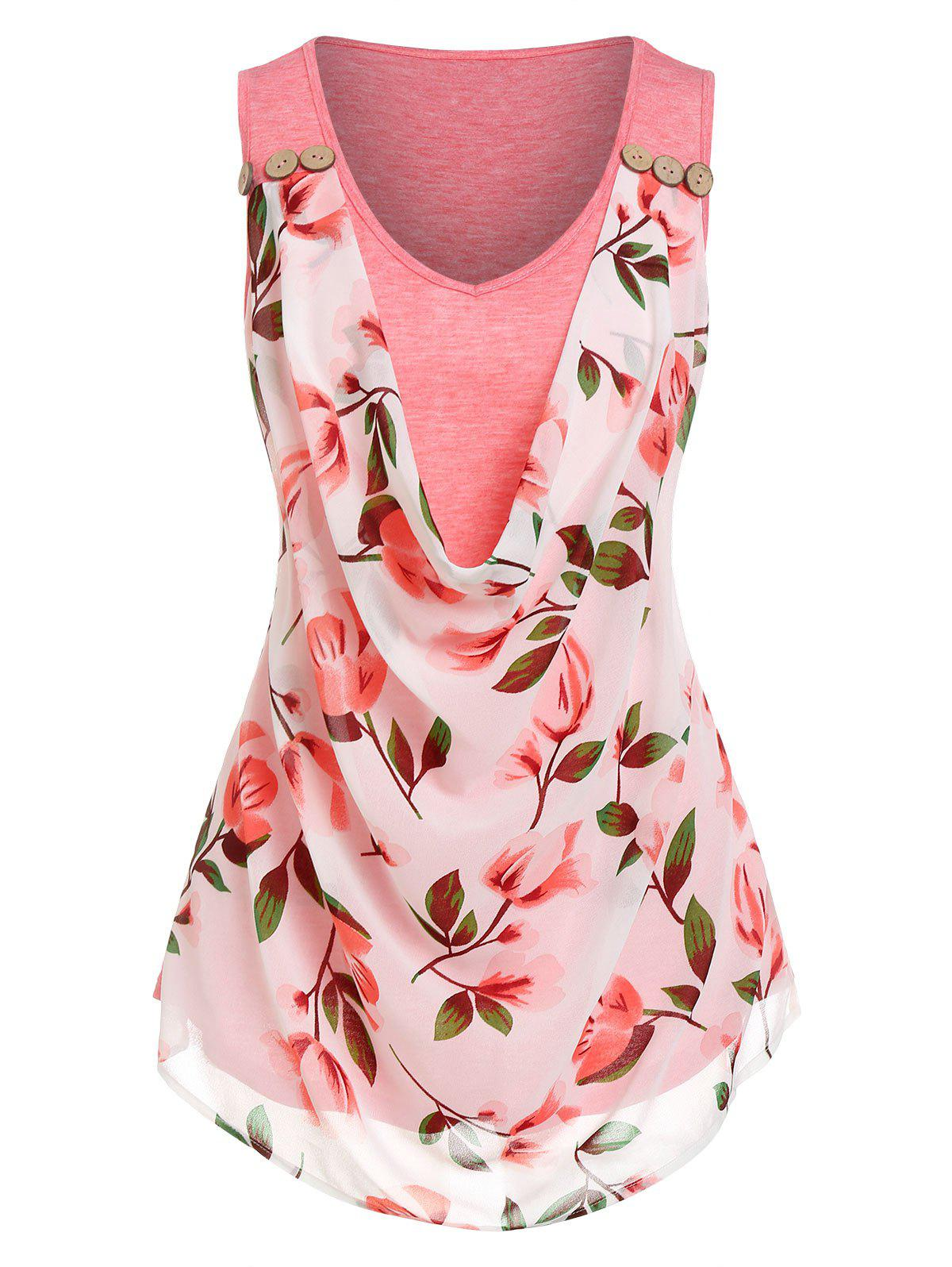 Floral Print Overlay Cowl Front Tank Top - LIGHT PINK M