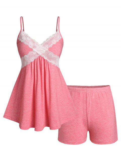 Plus Size Lace Insert Cami Top and PJ Shorts Set