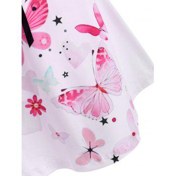 Flower Butterfly Heart Print Bowknot Ruched T Shirt