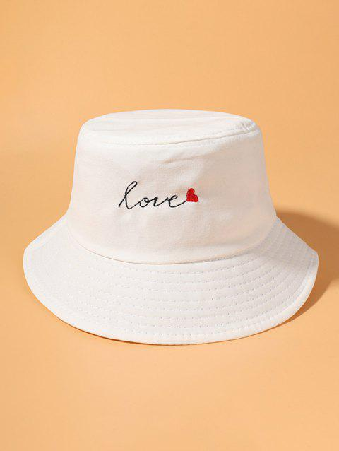 Letter Heart Embroidered Bucket Hat