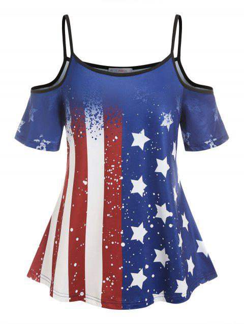 Plus Size Cold Shoulder American Flag Print Tee