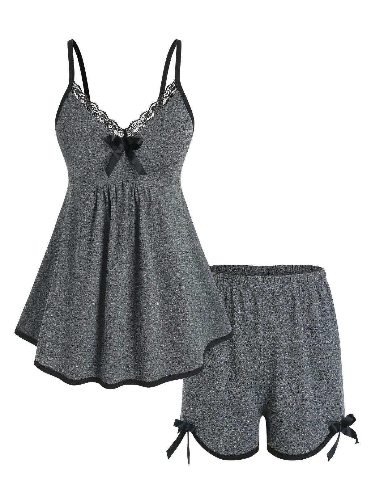 Plus Size Lace Trim Piping Pajama Cami Top and Shorts Set - DARK GRAY L