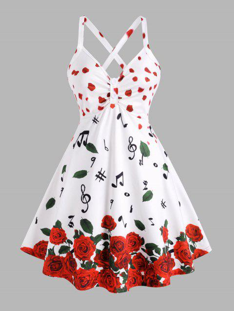 Plus Size Petal Flower Musical Notes Printed Skirted Tank Top