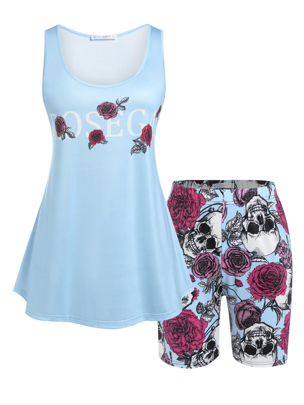Plus Size Rose Skull Print Top and Shorts Pajamas Set - LIGHT BLUE 2X
