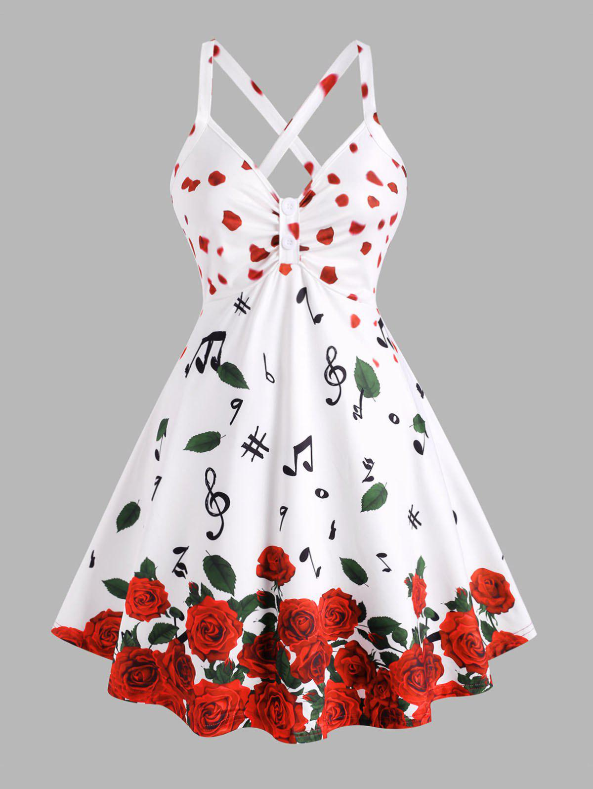 Plus Size Petal Flower Musical Notes Printed Skirted Tank Top - WHITE 1X