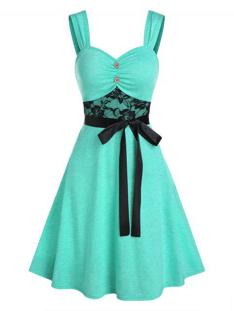 Lace Insert Button Ruched Belted Dress