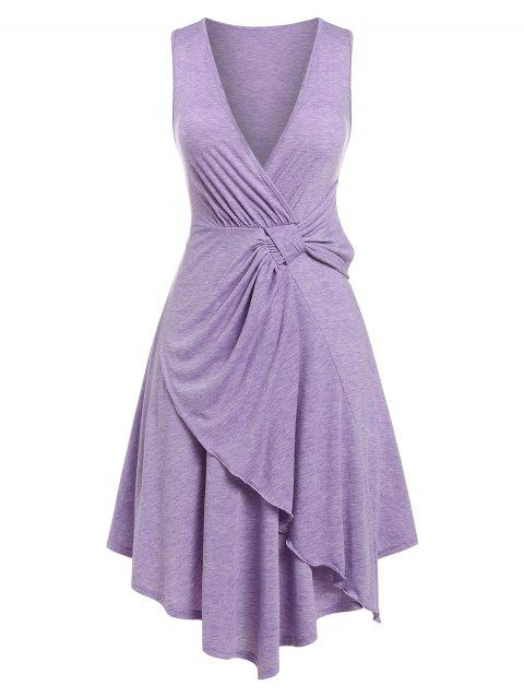 Plus Size Plunging Knotted Asymmetrical Dress