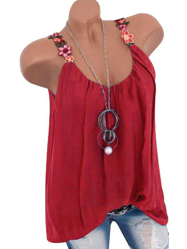 Flower Embroidered Tunic Tank Top - RED XL