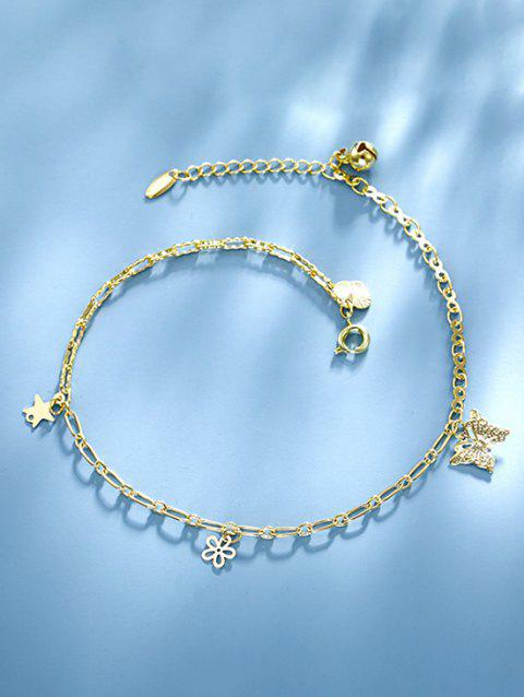 Butterfly Flower Star Charm Anklet