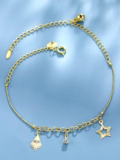 Star Rhinestone Bell Charm Anklet