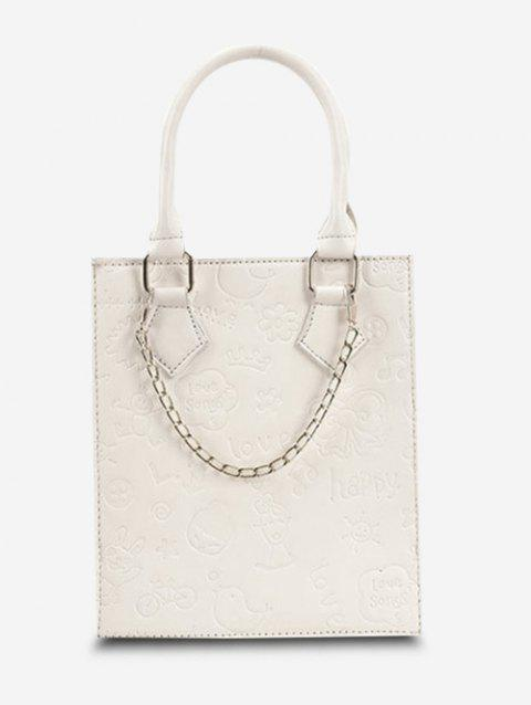 Embossed Chain Double Handle Tote Bag