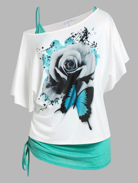 Plus Size Floral Butterfly Print Skew Neck Tee and Cinched Tank Top Set