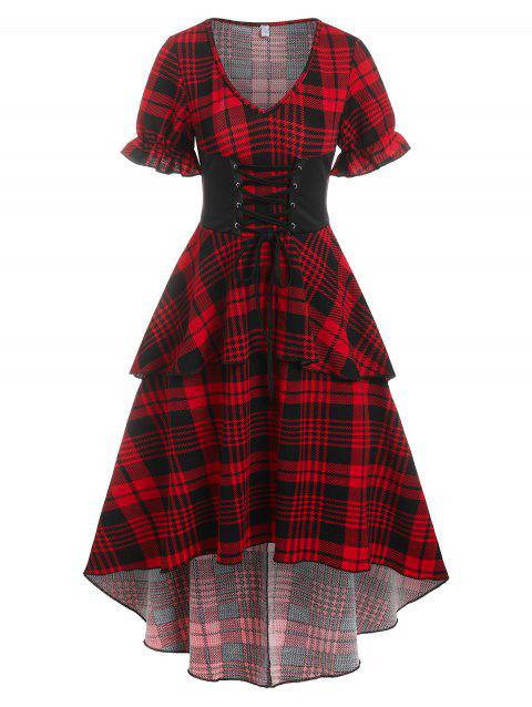 Checked Lace Up Poet Sleeve Layered Dress
