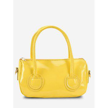 Faux Patent Leather Dual Handle Crossbody Bag - SUN YELLOW