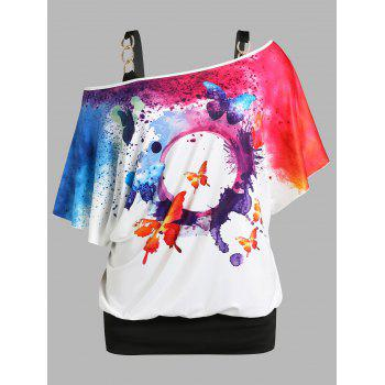 Plus Size Skew Neck Butterfly Splatter Paint Print Tee and Tank Top Set
