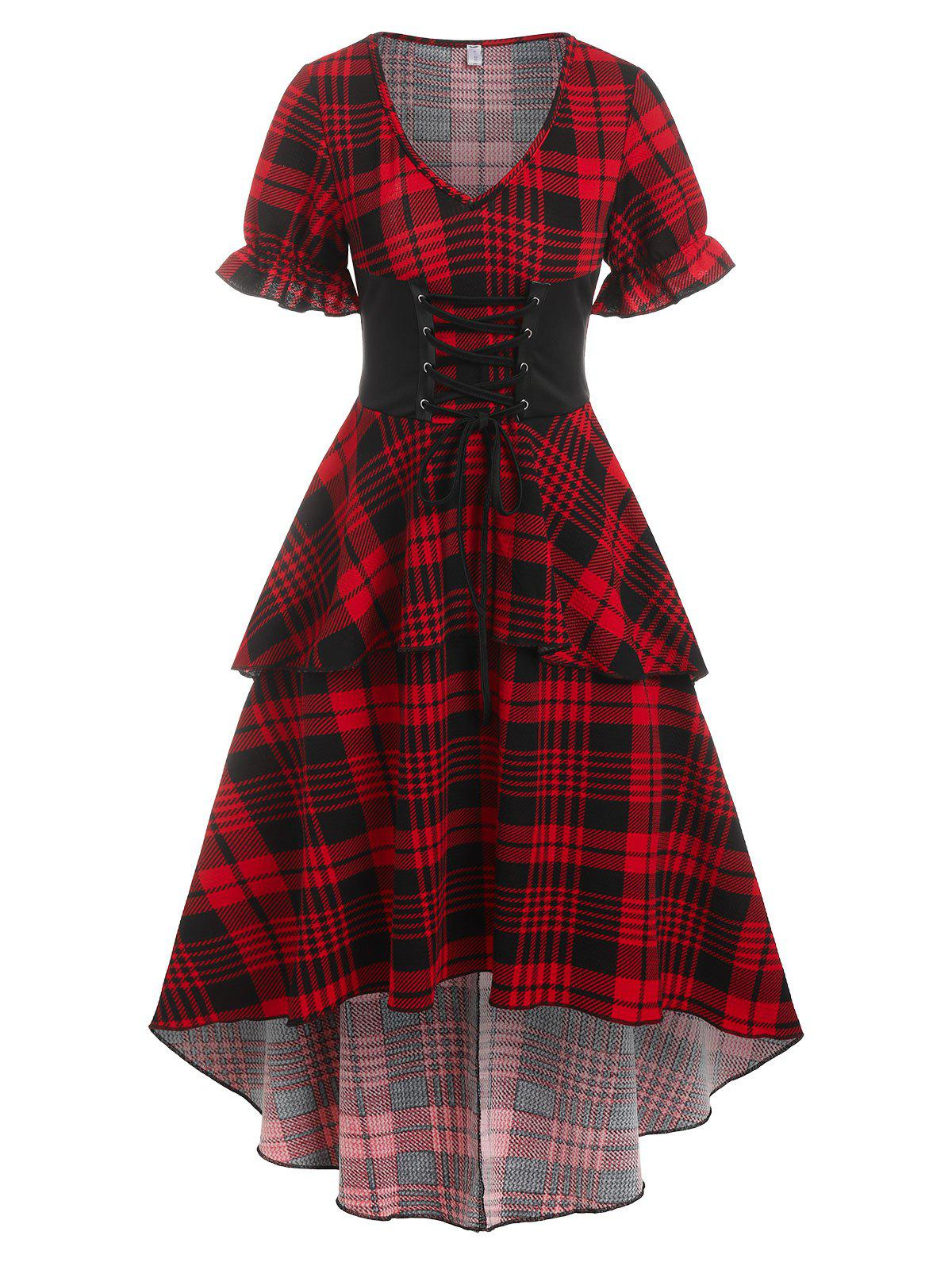 Checked Lace Up Poet Sleeve Layered Dress - DEEP RED 2XL