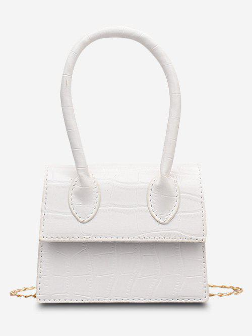 Embossed Top Handle Chain Bag - WHITE