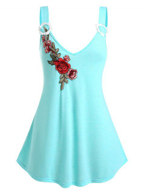 Plus Size Flower Embroidered Applique Plunge Tank Top