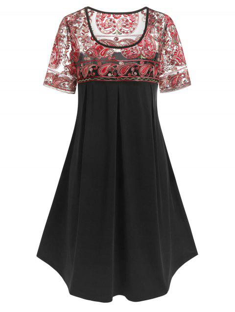 Plus Size Paisley Embroidered Knee Length Dress