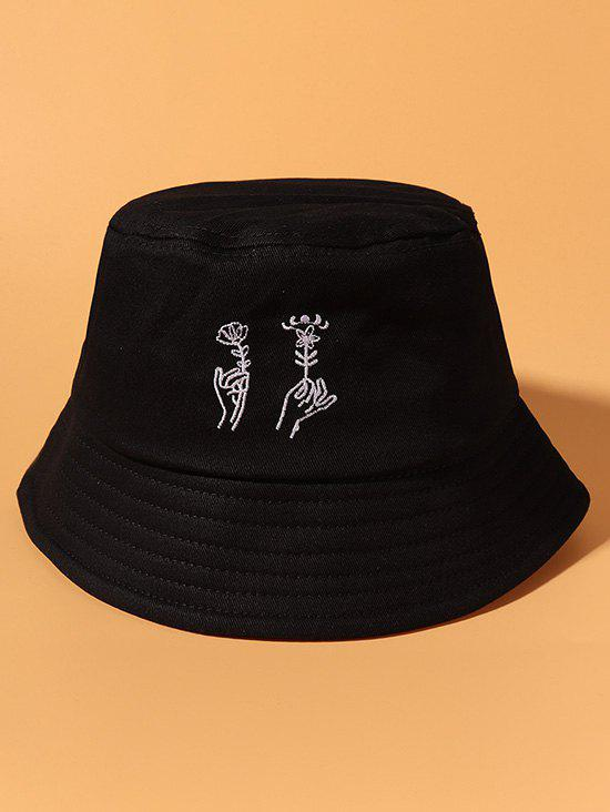 Hand Holding Flower Embroidery Bucket Hat - BLACK