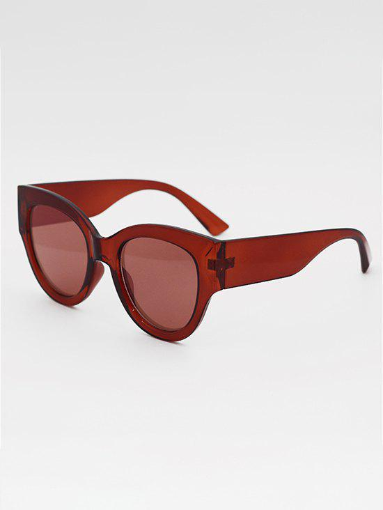 Eye Frame Wide Temple Sunglasses - DEEP RED
