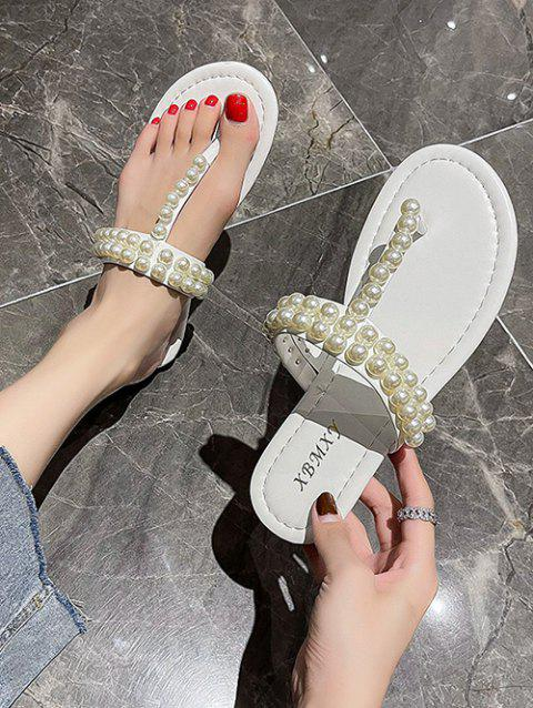Faux Pearl Embellished T-Strap Sandals