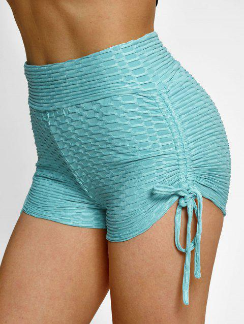High Waisted Cinched Textured Mini Shorts