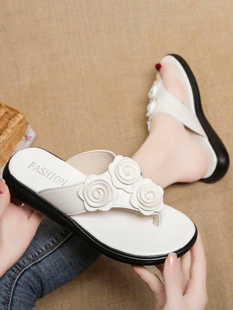 Flower Decor Flat Thong Slippers