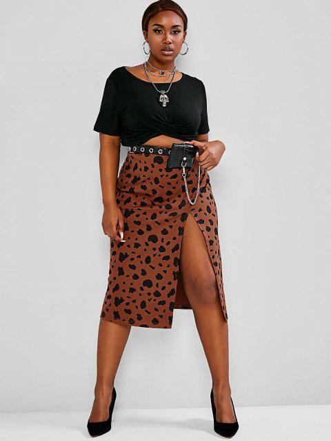 Plus Size Cropped Tee Leopard Print Two-Piece Skirt Set