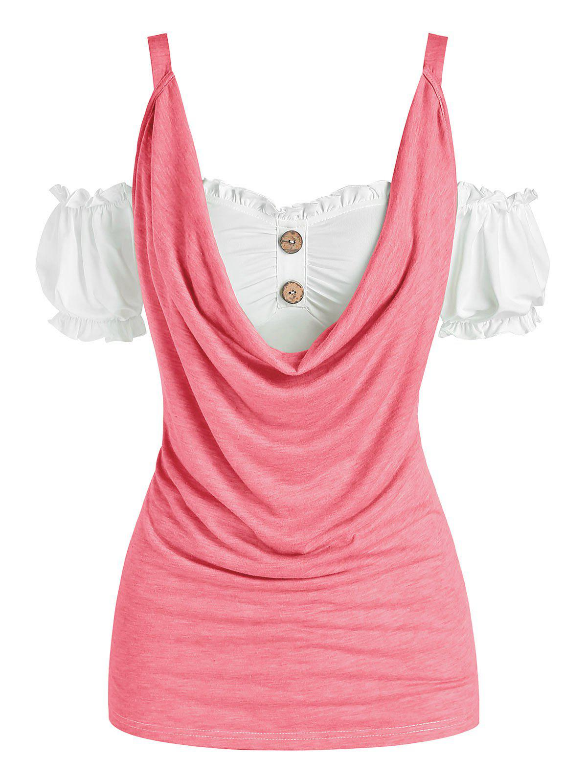 Puff Sleeve Cold Shoulder Cowl Front Tee - LIGHT PINK XXXL