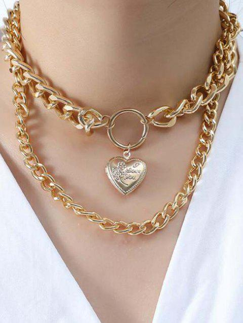 Heart Thick Chain Layered Locket Necklace