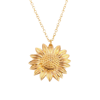Carved Sunflower Pendant Chain Necklace