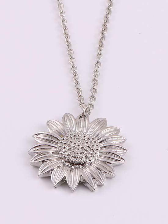 Carved Sunflower Pendant Chain Necklace - SILVER