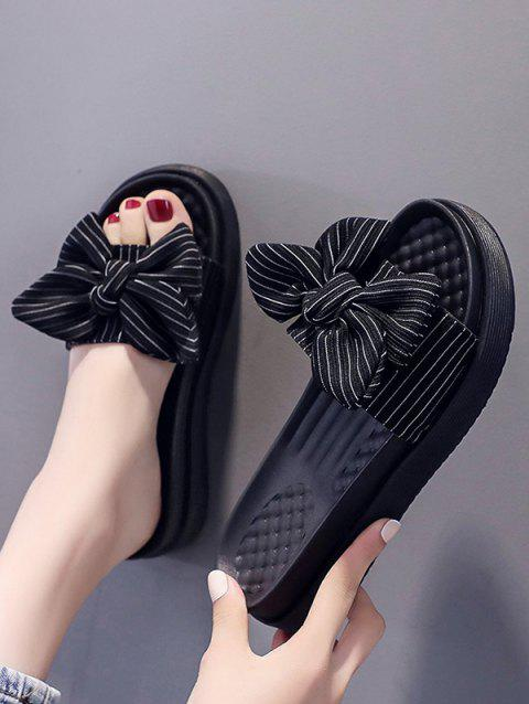 Stripes Bowknot Platform Outdoor Slippers