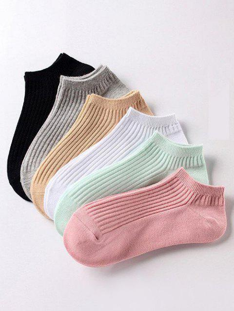 6 Pairs Ribbed Cotton Ankle Socks