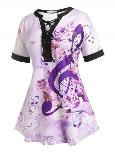 Plus Size Flower Musical Notes Lace-up Tunic Tee