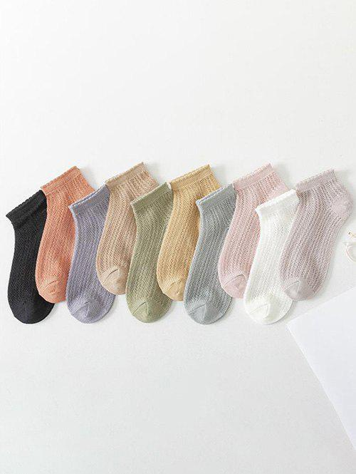 10 Pairs Mesh Breathable Ankle Socks - multicolor A