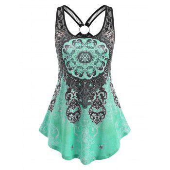 Ethnic Printed Ring Lace Panel Tank Top