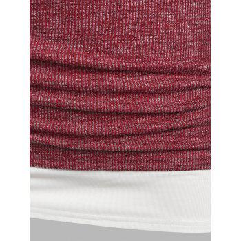 Plus Size Ruched Ribbed Faux Twinset Tee