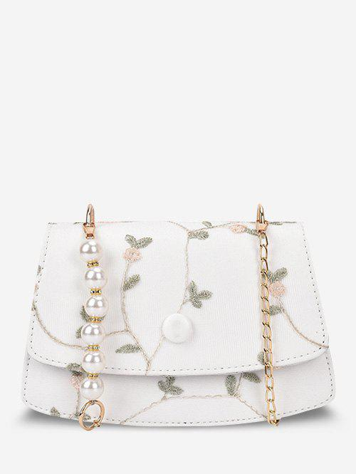 Embroidery Flower Lace Faux Pearl Crossbody Bag - WHITE