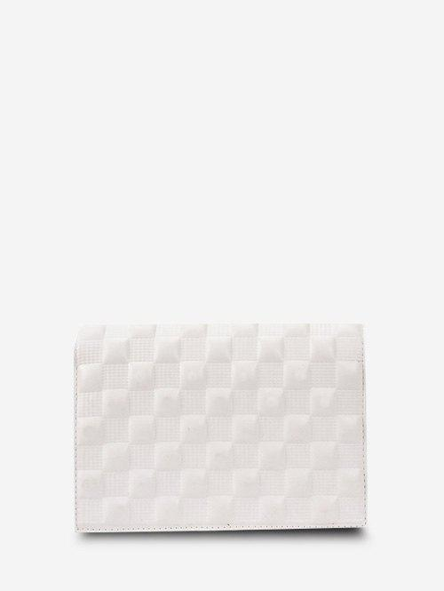 Solid Checked Textured Chain Crossbody Bag - WHITE
