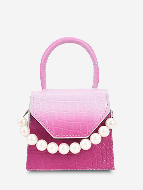Ombre Embossed Faux Pearl Mini Crossbody Bag - ROSE RED